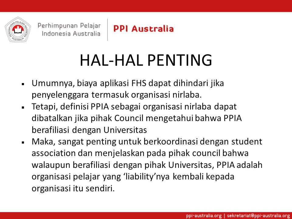 HAL-HAL PENTING Umumnya, biaya aplikasi FHS dapat dihindari jika penyelenggara termasuk organisasi nirlaba.