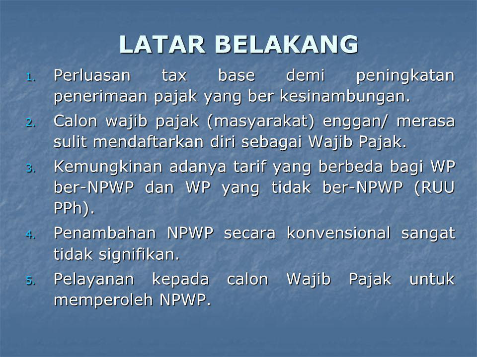 LATAR BELAKANG Perluasan tax base demi peningkatan penerimaan pajak yang ber kesinambungan.