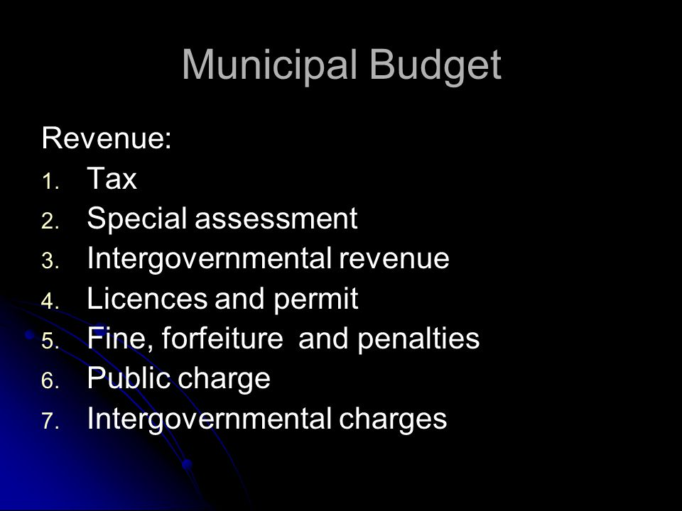 Municipal Budget Revenue: Tax Special assessment