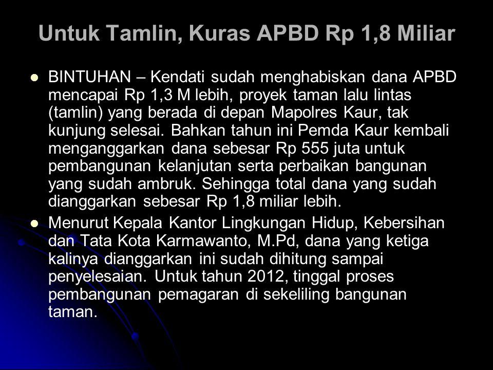 Untuk Tamlin, Kuras APBD Rp 1,8 Miliar