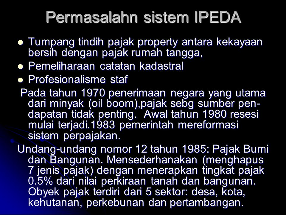 Permasalahn sistem IPEDA