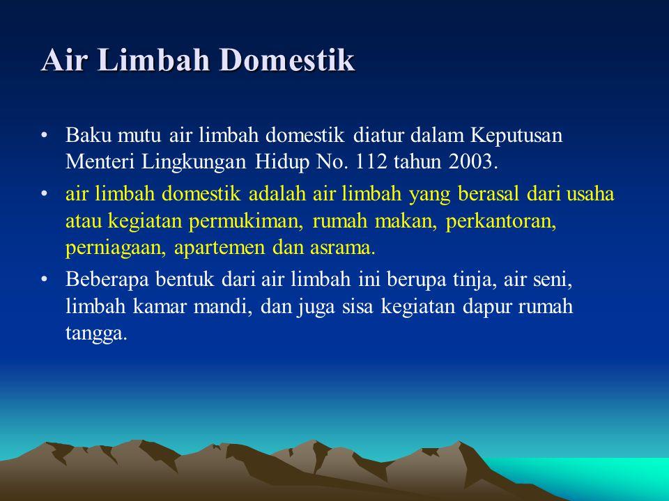 Air Limbah Domestik Baku mutu air limbah domestik diatur dalam Keputusan Menteri Lingkungan Hidup No. 112 tahun 2003.