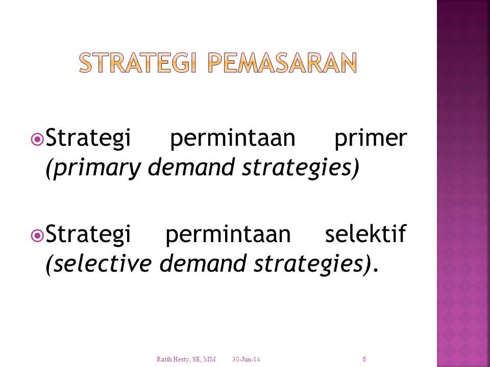 STRATEGI PEMASARAN Strategi permintaan primer (primary demand strategies) Strategi permintaan selektif (selective demand strategies).
