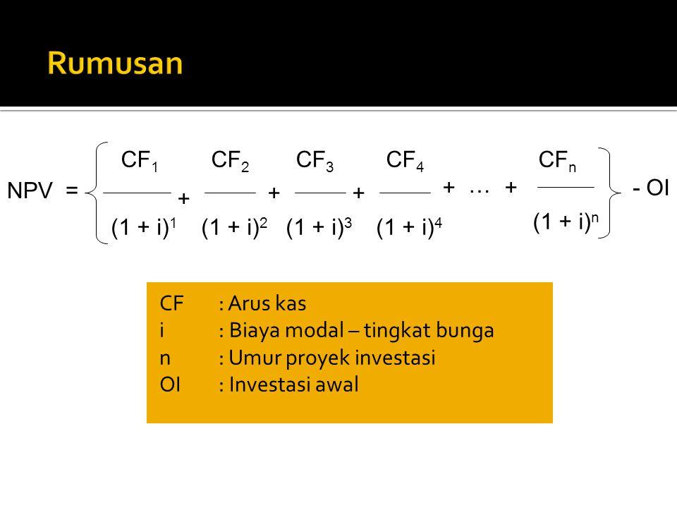 Rumusan CF1 CF2 CF3 CF4 CFn + … NPV = + - OI + + + (1 + i)n (1 + i)1