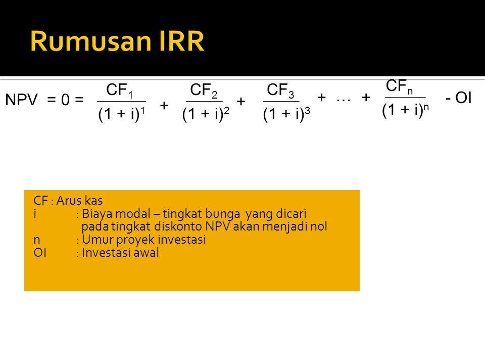 Rumusan IRR CFn CF1 CF2 CF3 + … NPV = 0 = + - OI + + (1 + i)n (1 + i)1