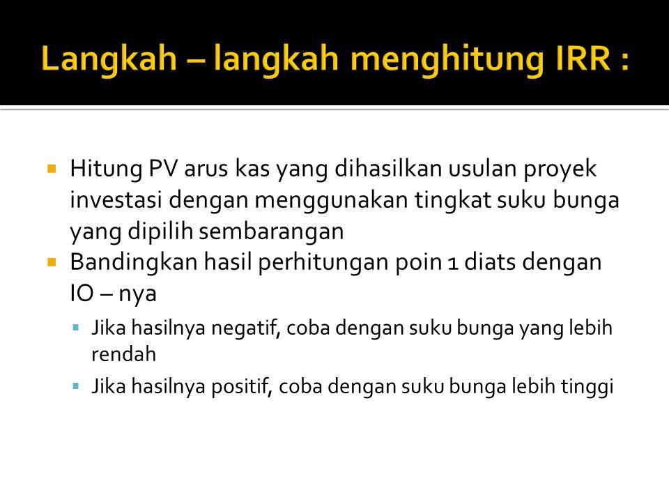 Langkah – langkah menghitung IRR :