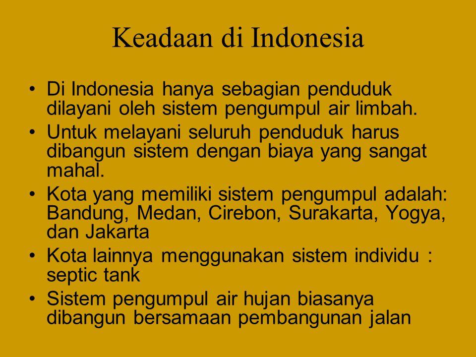 Keadaan di Indonesia Di Indonesia hanya sebagian penduduk dilayani oleh sistem pengumpul air limbah.