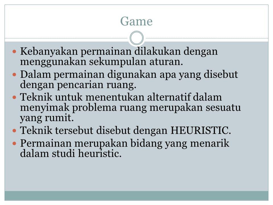 Game Kebanyakan permainan dilakukan dengan menggunakan sekumpulan aturan. Dalam permainan digunakan apa yang disebut dengan pencarian ruang.
