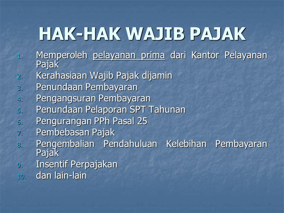 HAK-HAK WAJIB PAJAK Memperoleh pelayanan prima dari Kantor Pelayanan Pajak. Kerahasiaan Wajib Pajak dijamin.