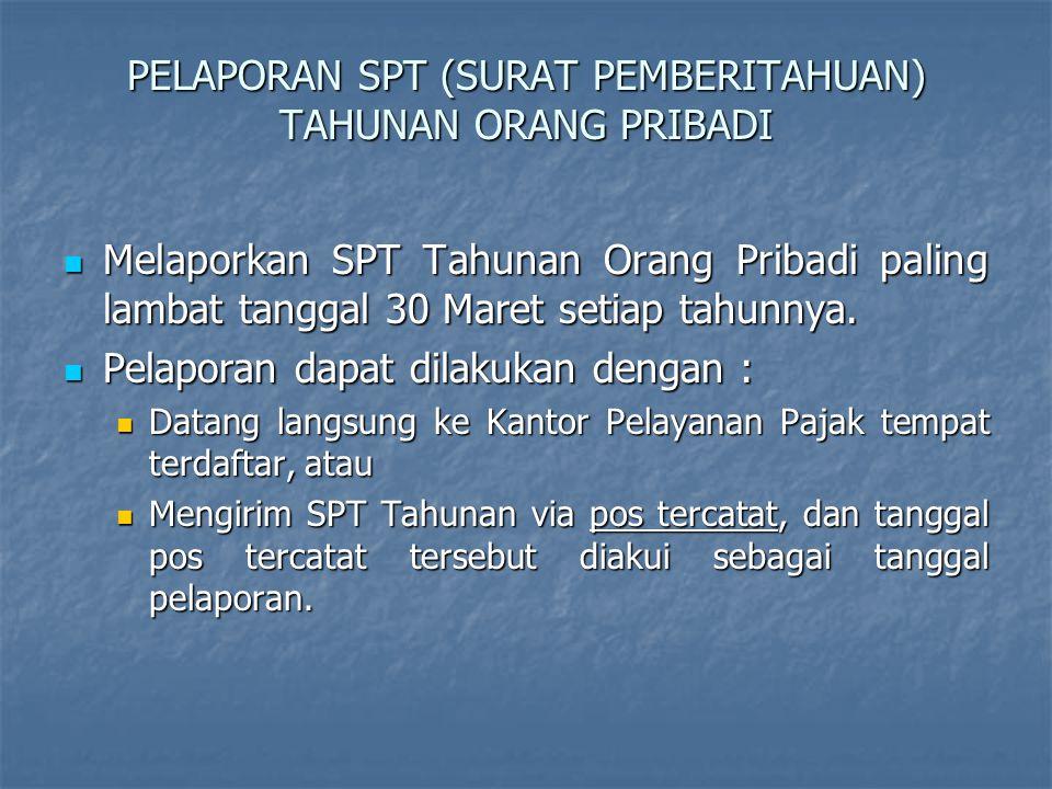 PELAPORAN SPT (SURAT PEMBERITAHUAN) TAHUNAN ORANG PRIBADI
