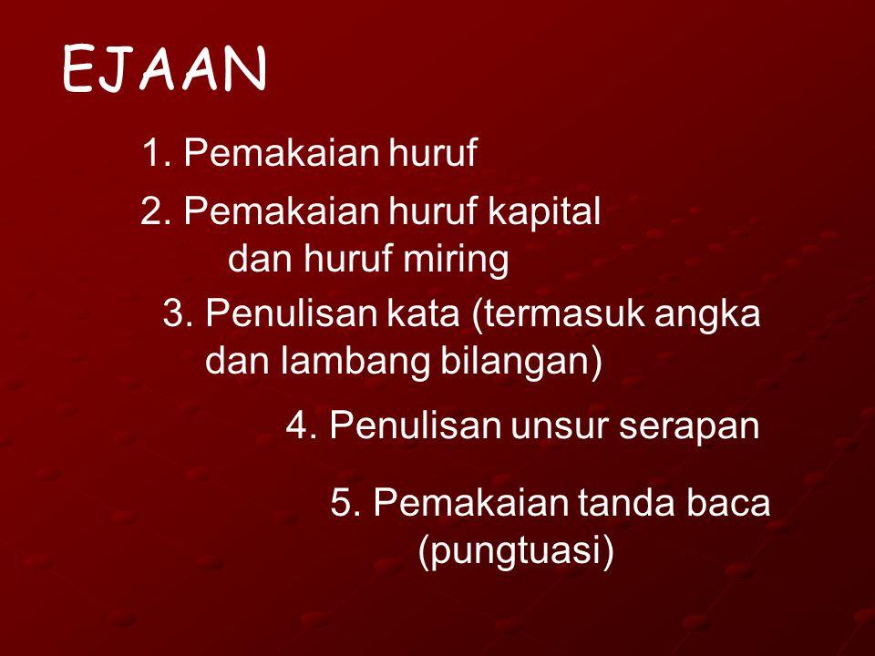 EJAAN 1. Pemakaian huruf 2. Pemakaian huruf kapital dan huruf miring