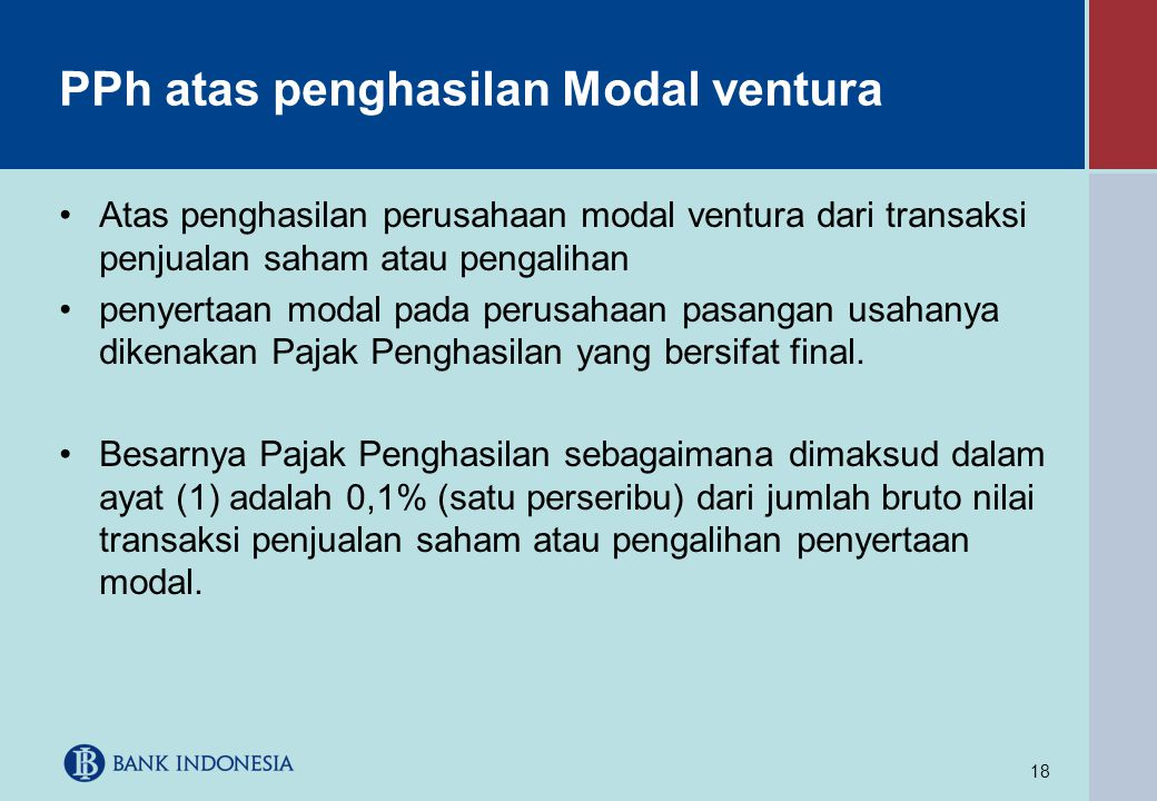 PPh atas penghasilan Modal ventura