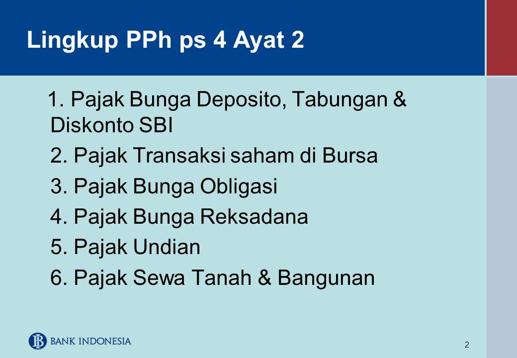 Lingkup PPh ps 4 Ayat 2 2. Pajak Transaksi saham di Bursa