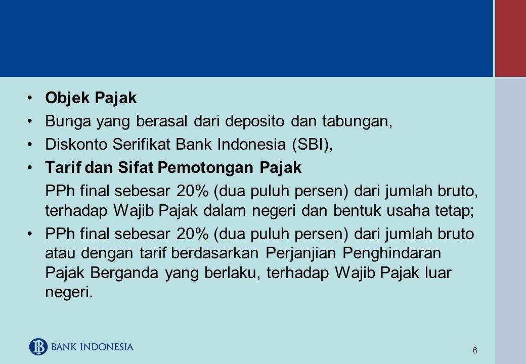 Objek Pajak Bunga yang berasal dari deposito dan tabungan, Diskonto Serifikat Bank Indonesia (SBI),