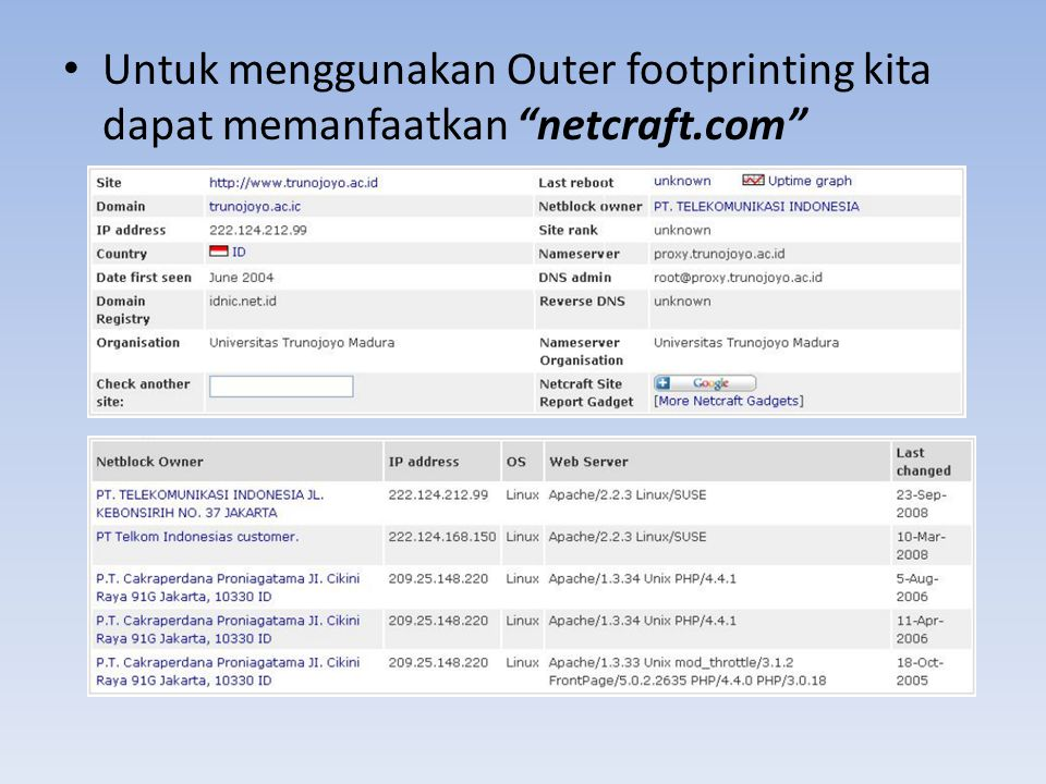 Untuk menggunakan Outer footprinting kita dapat memanfaatkan netcraft
