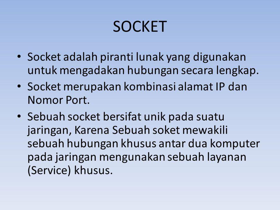 SOCKET Socket adalah piranti lunak yang digunakan untuk mengadakan hubungan secara lengkap. Socket merupakan kombinasi alamat IP dan Nomor Port.