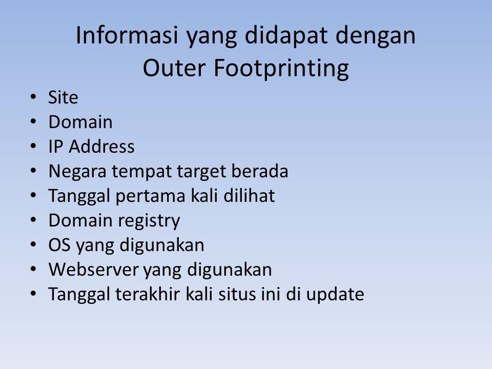Informasi yang didapat dengan Outer Footprinting