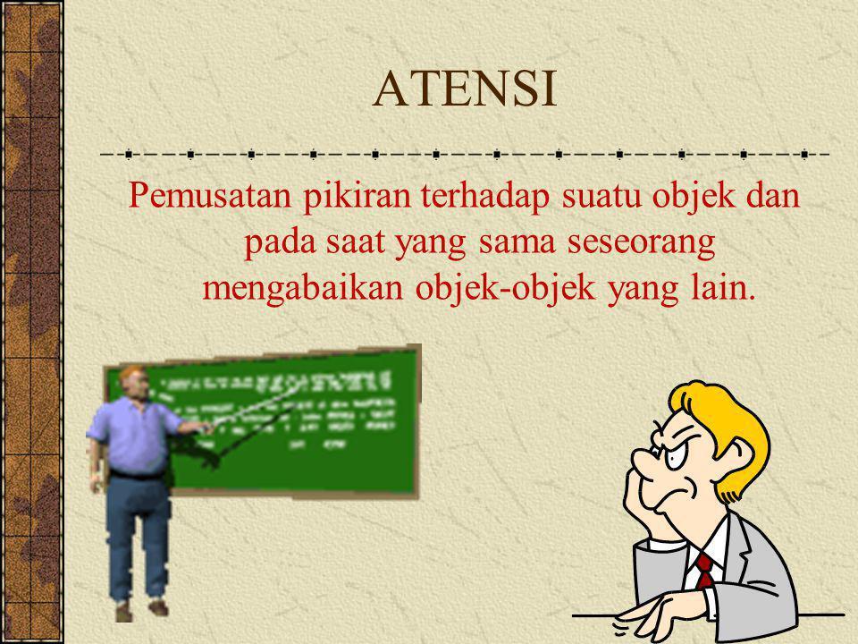 ATENSI Pemusatan pikiran terhadap suatu objek dan pada saat yang sama seseorang mengabaikan objek-objek yang lain.