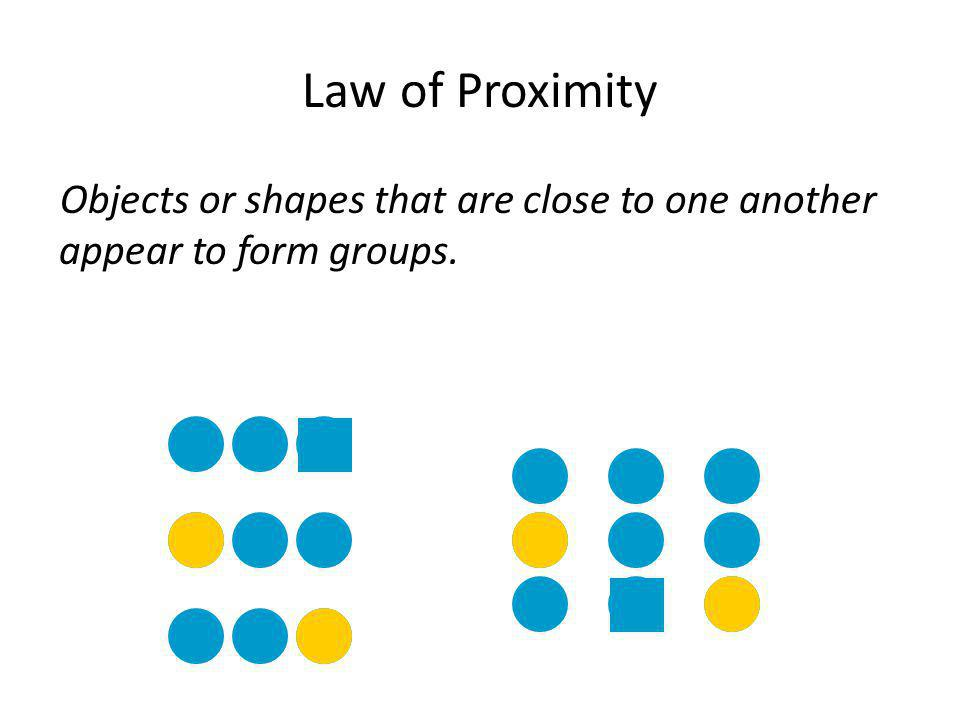 Law of Proximity Objects or shapes that are close to one another appear to form groups.