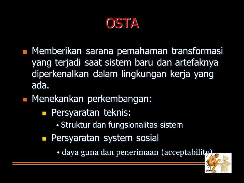 OSTA Memberikan sarana pemahaman transformasi yang terjadi saat sistem baru dan artefaknya diperkenalkan dalam lingkungan kerja yang ada.