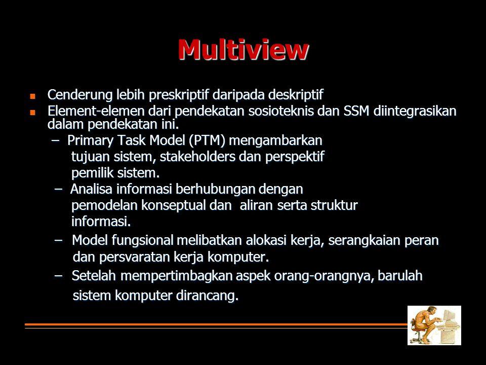 Multiview Cenderung lebih preskriptif daripada deskriptif. Element-elemen dari pendekatan sosioteknis dan SSM diintegrasikan dalam pendekatan ini.
