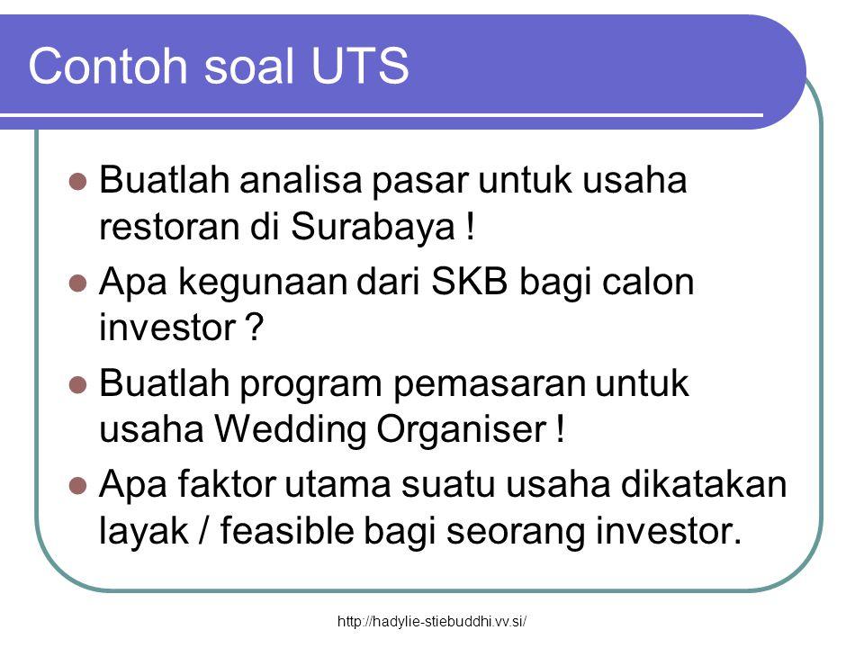 Contoh soal UTS Buatlah analisa pasar untuk usaha restoran di Surabaya ! Apa kegunaan dari SKB bagi calon investor