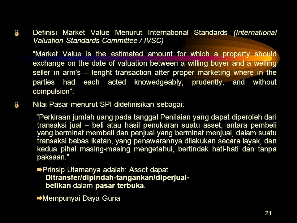 Definisi Market Value Menurut International Standards (International Valuation Standards Committee / IVSC)