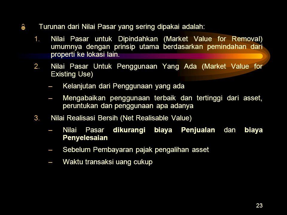 Turunan dari Nilai Pasar yang sering dipakai adalah: