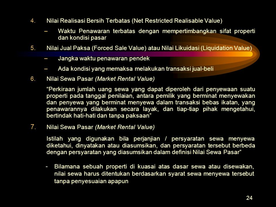 7. Nilai Sewa Pasar (Market Rental Value)