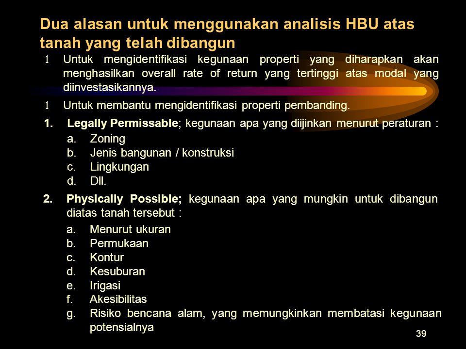 Dua alasan untuk menggunakan analisis HBU atas tanah yang telah dibangun