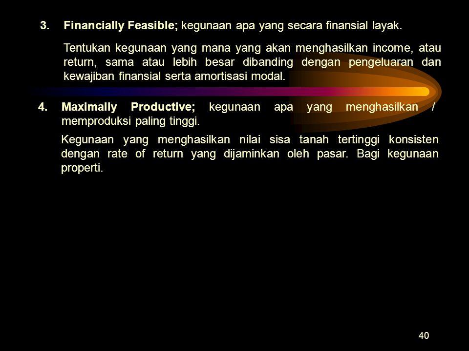 3. Financially Feasible; kegunaan apa yang secara finansial layak.