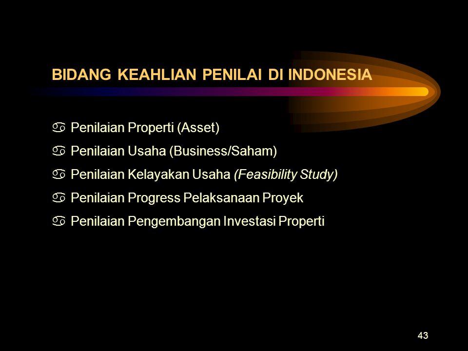 BIDANG KEAHLIAN PENILAI DI INDONESIA