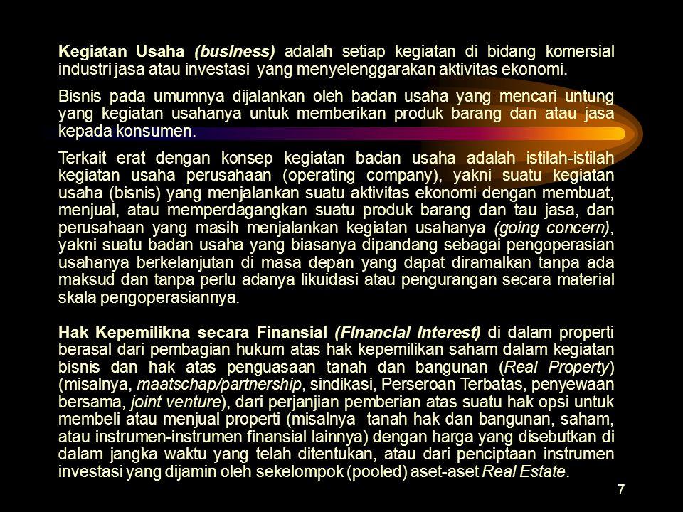 Kegiatan Usaha (business) adalah setiap kegiatan di bidang komersial industri jasa atau investasi yang menyelenggarakan aktivitas ekonomi.