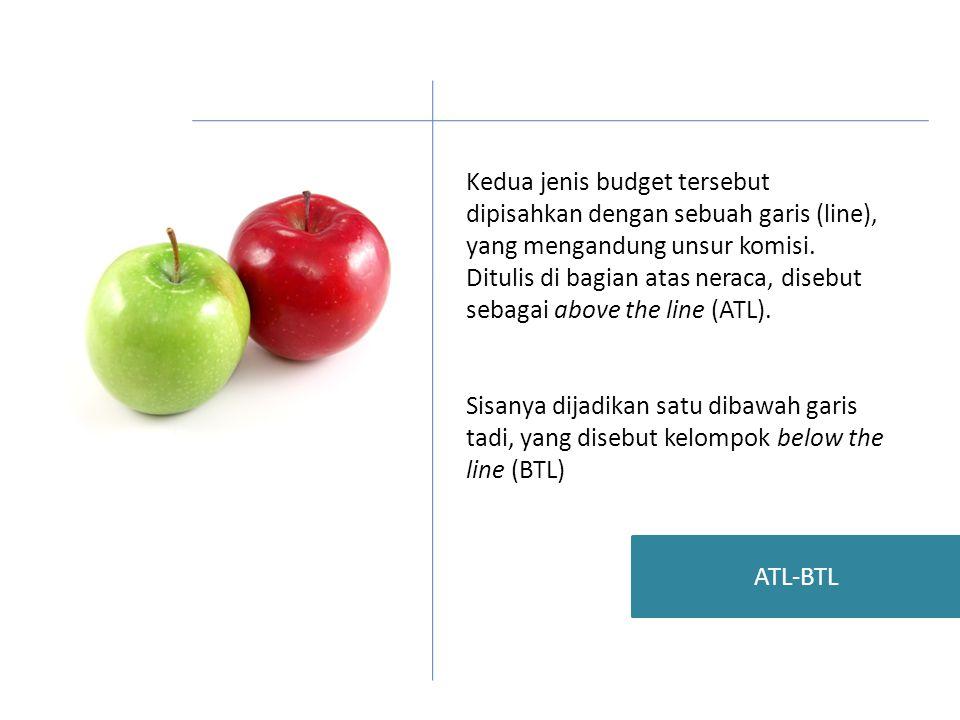 Kedua jenis budget tersebut dipisahkan dengan sebuah garis (line), yang mengandung unsur komisi.