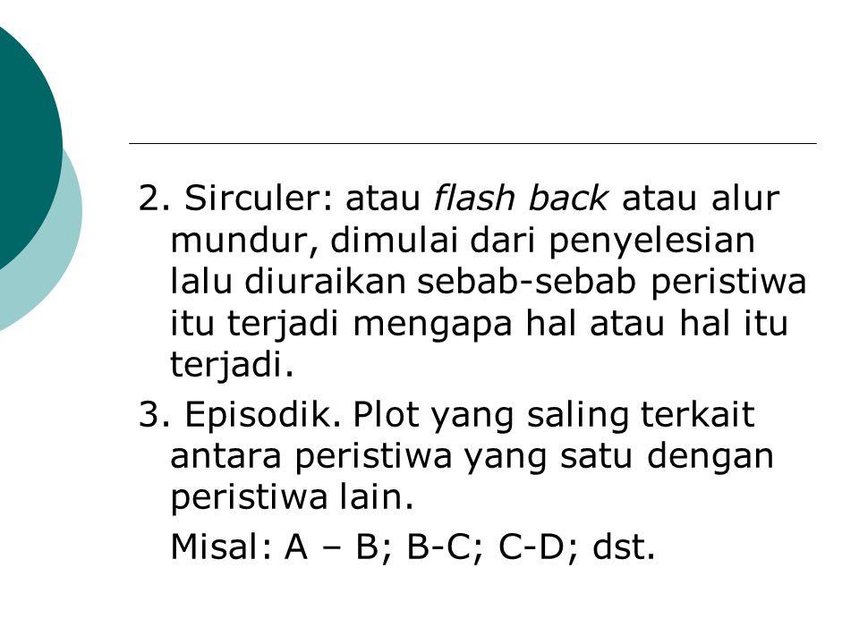 2. Sirculer: atau flash back atau alur mundur, dimulai dari penyelesian lalu diuraikan sebab-sebab peristiwa itu terjadi mengapa hal atau hal itu terjadi.