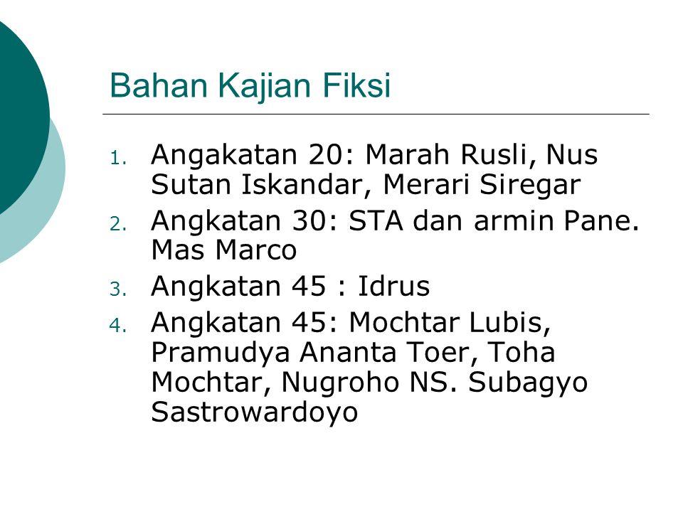 Bahan Kajian Fiksi Angakatan 20: Marah Rusli, Nus Sutan Iskandar, Merari Siregar. Angkatan 30: STA dan armin Pane. Mas Marco.