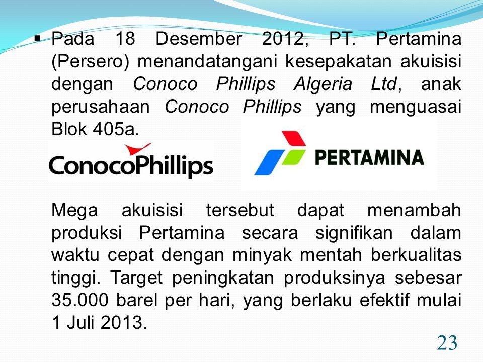 Pada 18 Desember 2012, PT. Pertamina (Persero) menandatangani kesepakatan akuisisi dengan Conoco Phillips Algeria Ltd, anak perusahaan Conoco Phillips yang menguasai Blok 405a.
