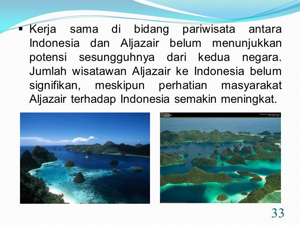 Kerja sama di bidang pariwisata antara Indonesia dan Aljazair belum menunjukkan potensi sesungguhnya dari kedua negara.