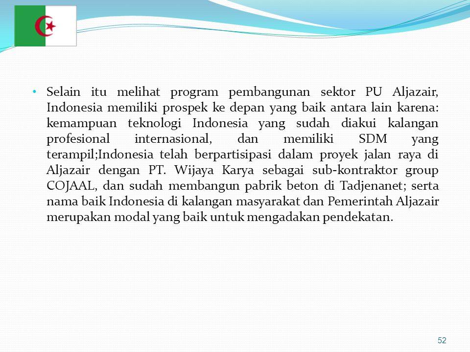 Selain itu melihat program pembangunan sektor PU Aljazair, Indonesia memiliki prospek ke depan yang baik antara lain karena: kemampuan teknologi Indonesia yang sudah diakui kalangan profesional internasional, dan memiliki SDM yang terampil;Indonesia telah berpartisipasi dalam proyek jalan raya di Aljazair dengan PT.