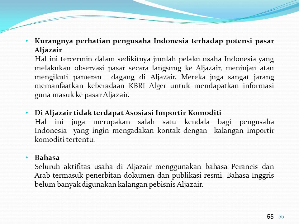 Di Aljazair tidak terdapat Asosiasi Importir Komoditi