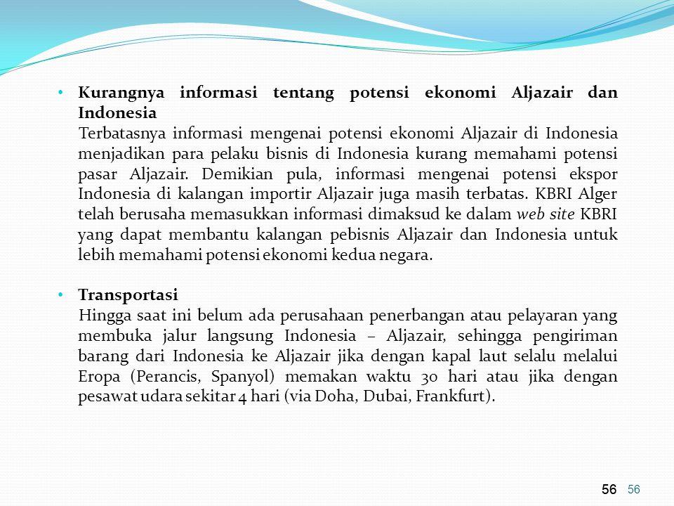 Kurangnya informasi tentang potensi ekonomi Aljazair dan Indonesia