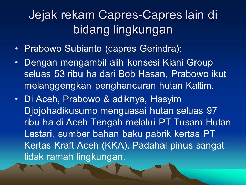 Jejak rekam Capres-Capres lain di bidang lingkungan