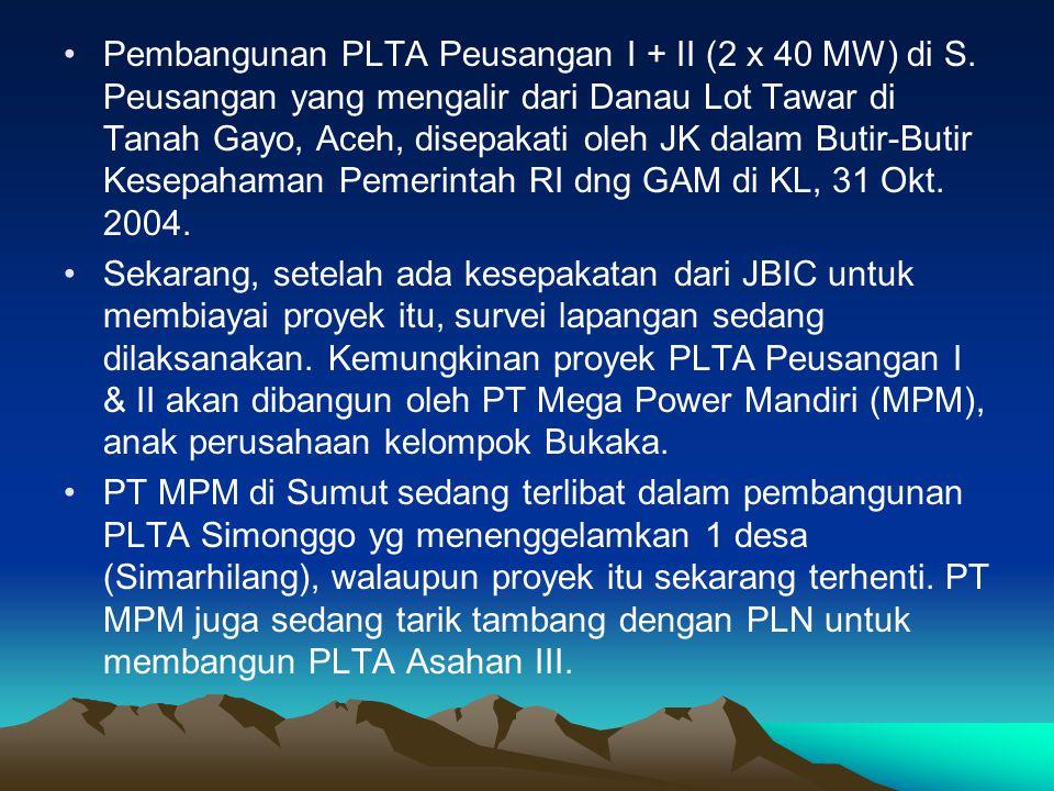 Pembangunan PLTA Peusangan I + II (2 x 40 MW) di S