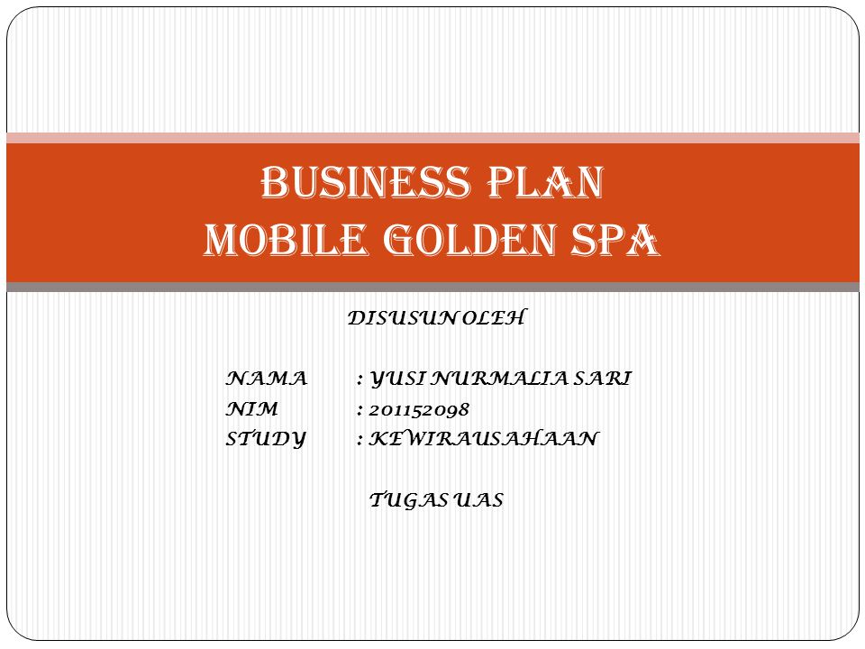 BUSINESS PLAN MOBILE GOLDEN SPA