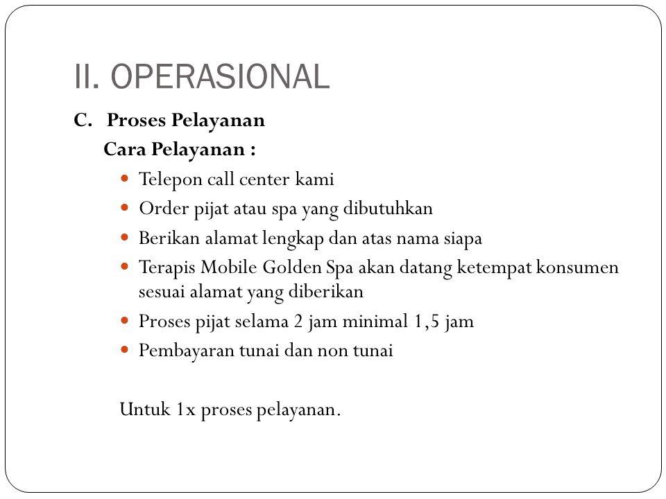 II. OPERASIONAL C. Proses Pelayanan Cara Pelayanan :