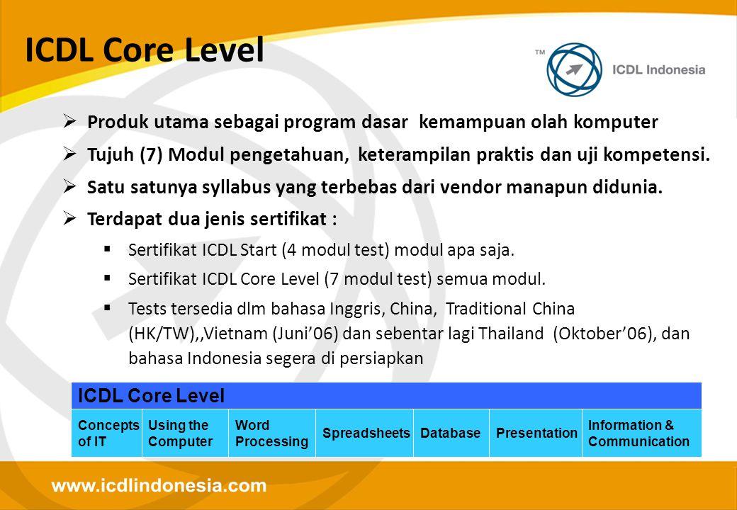 ICDL Core Level Produk utama sebagai program dasar kemampuan olah komputer. Tujuh (7) Modul pengetahuan, keterampilan praktis dan uji kompetensi.