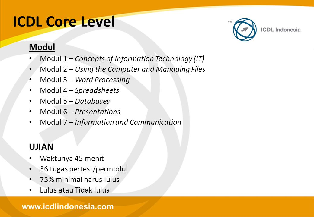 ICDL Core Level Modul UJIAN
