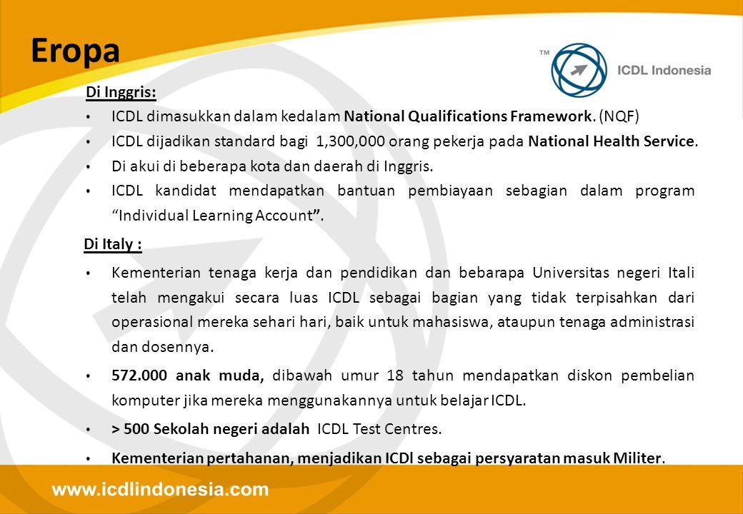 Eropa Di Inggris: ICDL dimasukkan dalam kedalam National Qualifications Framework. (NQF)