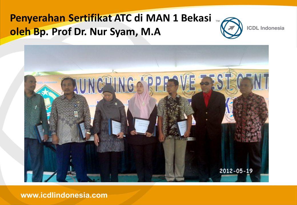 Penyerahan Sertifikat ATC di MAN 1 Bekasi oleh Bp. Prof Dr. Nur Syam, M.A
