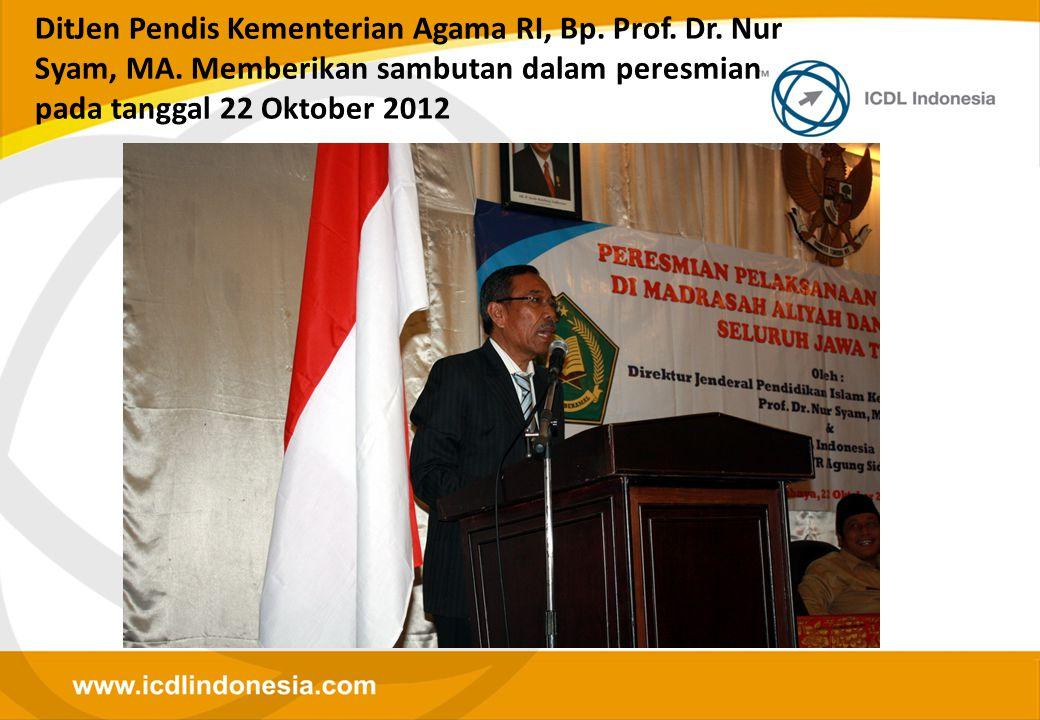 DitJen Pendis Kementerian Agama RI, Bp. Prof. Dr. Nur Syam, MA